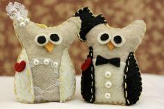Valentine's Day Wedding Ornament Felt Owl Ornaments Bride and Groom