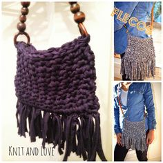 Knit and Love: BOLSO DE TRAPILLO CON FLECOS