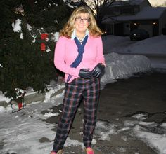 Target plaid pants with a pink cashmere sweater  and tommy loafers 4 #plaid #fashion #fashionover40
