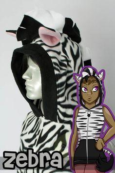 Zebra Vest, Costume, Hoodie, Vest, Jacket, Hand-made, Cosplay. $89.00, via Etsy.