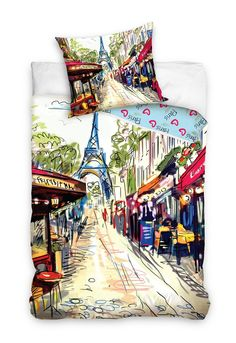 Bavlnené obliečky Paris Café Rue, 140 x 200 cm, 70 x 80 cm Tour Eiffel, Paris Tour, Bags, Home, Bedding, Comforter Set, Linens, Slipcovers, Handbags