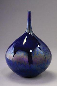 Bottle, Cobalt Blue Glaze, Porcelain by Hideaki Miyamura. Glass Ceramic, Ceramic Clay, Ceramic Plates, Porcelain Clay, Pottery Vase, Ceramic Pottery, Vases, Keramik Vase, Japanese Ceramics