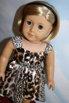 18 American Girl Doll Animal Print Party Dress by SewLikeBetty, $20.00