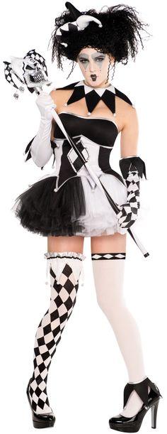 Details about Harlequin Jester + Facepaint Ladies Fancy Dress Halloween Circus…