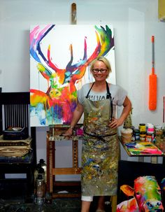 Judith in the studio in front of her new Stag painting.