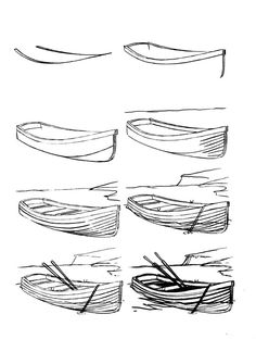 Pencil Drawing Tutorials How to draw a boat step-by-step 12 Pencil Drawing Tutorials, Pencil Art Drawings, Easy Drawings, Art Tutorials, Drawing Sketches, Sketching, Drawing Art, Landscape Sketch, Landscape Drawings