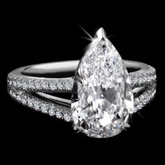 Flawless Pear Shaped Diamond Ring.  <3