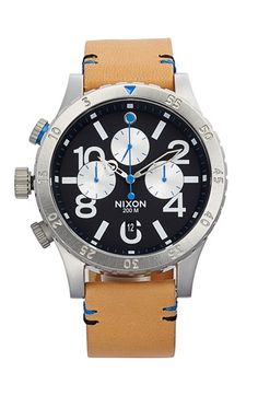 Nixon+'The+48-20'+Chronograph+Leather+Strap+Watch,+48mm+available+at+#Nordstrom