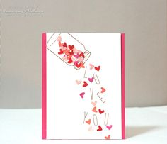 """Lawnscaping Challenge: Falling (Die cut) Hearts! {I think I would like to minus the shaker & have them falling from the top of card """"sky""""."""