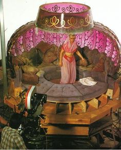 Barbara Eden in the bottle on the I Dream of Jeannie set. Photograph courtesy of Glenn Fry - i loved this show when i was little! i used to pretend i was jeannie and my closet was my bottle! Barbara Eden, I Dream Of Jeannie, Photo Vintage, Vintage Tv, Vintage Stuff, Vintage Hollywood, Hollywood Glamour, Vintage Decor, Bottle House