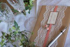 Rustic coral wedding guest book