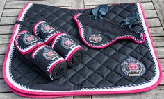 New HKM Navy dressage set full size saddle pad+ bandage+ fly veil Lauria Garrell in Sporting Goods, Equestrian, Horse Wear & Equipment | eBay