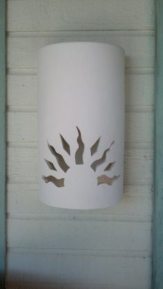 Sun Rays Exterior Porch or Patio Wall Sconce by CustomCutLighting Pvc Pipe Projects, Clay Projects, Wall Sconce Lighting, Wall Sconces, Column Lights, Tropical Furniture, Ceramic Lantern, Diy And Crafts, Paper Crafts