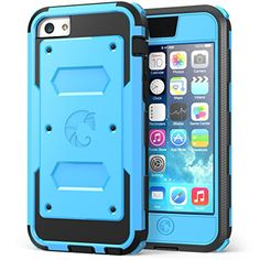 iPhone 5C Case, i-Blason Armorbox Dual Layer Hybrid Protective Case with Built-in Screen Protector and Impact Resistant Bumpers for Apple iPhone 5C (Blue)
