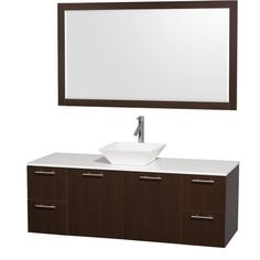 Amare 60 inch Single Bathroom Vanity in Espresso with White Man-Made Stone Top with White Porcelain Sink, and 58 inch Mirror Wyndham Collection http://www.amazon.com/dp/B00AB2J5TE/ref=cm_sw_r_pi_dp_dOcSub1QZQQ0K