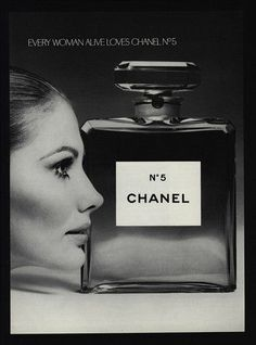 1969 CHANEL No5 Perfume - Every Woman Alive Loves No5 - VINTAGE AD w/Maud Adams model.