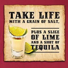 take life with a grain of salt, plus a slice of lime & a shot of tequila Quotes And Notes, Great Quotes, Quotes To Live By, Me Quotes, Funny Quotes, Inspirational Quotes, Random Quotes, Grain Of Salt, Slice Of Lime