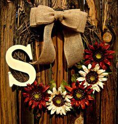 Monogrammed Sunflower Wreath for Fall - Fall Decor - Autumn Wreath - Door Wreath - Initial Wreath - Monogram Wreath - Rustic Fall Wreath on Etsy, $40.00