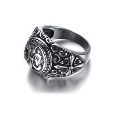 สินค้าที่คุณกำลังมองหา KR9661 Men's Stainless Steel Biker Ring (Silver) (Intl) ราคาถูก ชำระเงินได้หลากหลายช่องทาง พร้อมส่ง