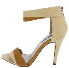AVA22 NATURAL OPEN TOE DUAL TONE HEEL ONLY $10.88