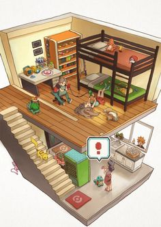 """Someone drew a Poke'mon house basically using the same """"block"""" format as the game! the mew is hiding Pokemon Mew, Pokemon Fan Art, Pikachu, Play Pokemon, Pokemon Stuff, Isometric Art, Isometric Design, Pokemon Pictures, Catch Em All"""