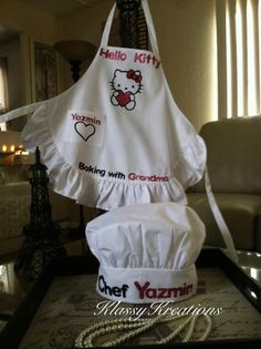 Youth Hello Kitty Apron and Chef Hat by KlassyKreations15 on Etsy