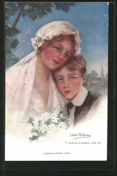 "carte postale ancienne: CPA Illustrateur Philip Boileau: ""Sister's first Love"""