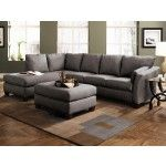 Klaussner Furniture – Drew Sectional Sofa in Charcoal Microsuede with Left Facing Chaise - DREWSECTA-8-E16L  SPECIAL PRICE: $1,279.00