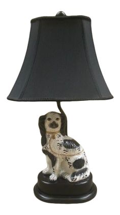 Traditional Lamp Shades, Staffordshire Dog, Gold Collar, Late 20th Century, Cavalier King Charles, Fabric Shades, Shades Of Black, Black Fabric, Vintage Decor