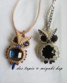 owl necklaces with swarovski Seed Bead Jewelry, Owl Jewelry, Pendant Jewelry, Beaded Jewelry, Handmade Jewelry, Beaded Necklace, Jewelry Design, Owl Pendant, Jewellery