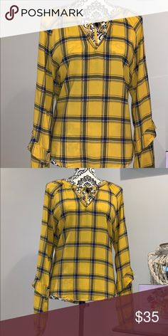 d48a24c9a83 Plaid yellow shirt Pretty design yellow and blue goes well with jeans or  black pants Never