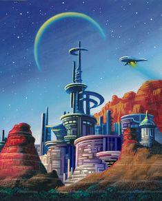 Capital Of The Democracy by AlanGutierrezArt on DeviantArt Anime Fantasy, Sci Fi Fantasy, Anime City, Pop Art Illustration, Illustrations, 70s Sci Fi Art, World Of Tomorrow, Futuristic City, Illustration