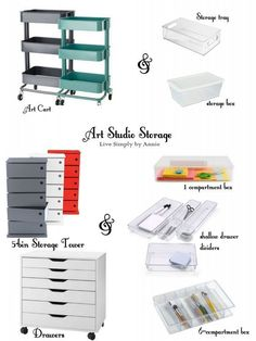 Art Studio or Craft Room Small Space Organization Tips Art and Craft Studio Organization for Small Spaces - Lily & Thistle Art Studio Storage, Art Studio Room, Art Studio Design, Art Studio Organization, Art Studio At Home, Art Storage, Small Space Organization, Painting Studio, Storage Organization