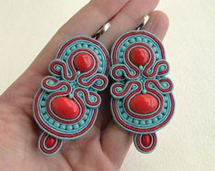 Soutache earrings, beaded earrings with blue and red strips, coral and Toho beads, Macarena - MADE TO ORDER on Etsy, Sold Jewelry Art, Beaded Jewelry, Handmade Jewelry, Women Jewelry, Jewlery, Beads And Wire, Clay Beads, Soutache Earrings, Red Earrings