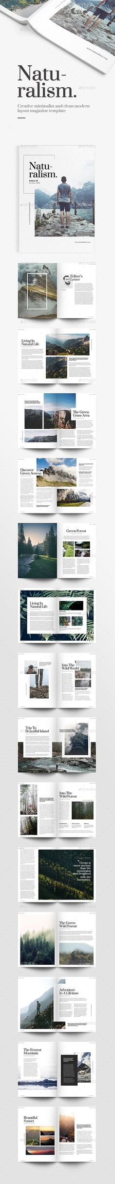 Buy Naturalism Magazine by punkl on GraphicRiver. Naturalism Magazine Template Naturalism is creative minimalist and clean modern layout magazine template, good for de. Editorial Design, Editorial Layout, Graphisches Design, Buch Design, Design Elements, Print Design, Design Brochure, Graphic Design Layouts, Brochure Ideas