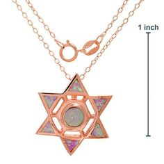 OPAL STAR NECKLACE CRAFTED IN 14K ROSE GOLD OVER SOLID .925 STERLING SILVER
