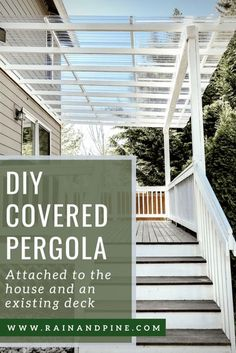 DIY Clear Corrugated Covered Pergola Attached to the House and an Existing Deck – Rain and Pine Deck With Pergola, Diy Deck, Covered Pergola, Backyard Pergola, Pergola Shade, Diy Patio, Gazebo, Pergola Roof, Covered Patios