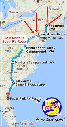 Mapping and following the Best RV Route from the Northeast and