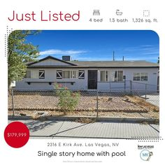 Just Listed! 🏡 4 bedrooms 🏊♀️ Pool 🚨 $179,999 JUST LISTED! Great opportunity for someone willing to put in a little TLC. 📲 702-683-6576 to schedule your private or virtual tour. NVRE s.048606 #lasvegasrealestate #lasvegashomesforsale #lasvegasrealestateforsale #lasvegasrealestateagent #lasvegasrealtor #vegasrealestate #vegasrealtor #summerlin #hendersonrealestate #lasvegashomes #movingtovegas #lasvegasliving #lasvegaslocals #vegashomes #vegashomesforsale #hendersonhomesforsale #hendersonrea Las Vegas Living, Single Story Homes, Las Vegas Homes, Las Vegas Real Estate, Real Estate Sales, Pool Houses, Virtual Tour, Schedule, Opportunity