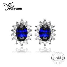 925 Sterling Silver 1.5ct Oval Blue Sapphire Stud  Earrings