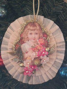 Victorian Child  Dresden Christmas Ornament by Rocknrobin on Etsy, $9.50
