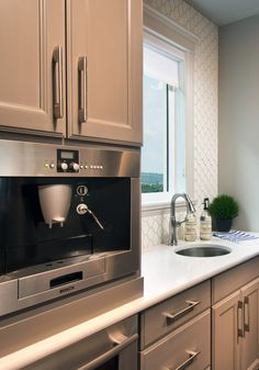 Butler's Pantry in the Monterey showhome in Auburn Bay, with a built-in espresso machine. Calgary News, Morrison Homes, Coffee Machines, Luxury Estate, Butler Pantry, Auburn, Home Builders, Espresso Machine, Townhouse