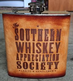 Southern Whiskey Leather Wrapped Flask by Old Dirty Type on Scoutmob