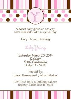 pink and brown baby shower invite http://www.littleangelannouncements.com/baby-shower-invitations/girl-baby-shower-invitations/pink-initial-baby-shower.html