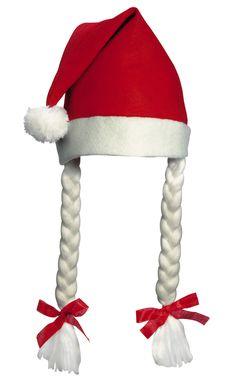 Nikolausmütze - Weihnachtsmütze mit Bommel und Zöpfen