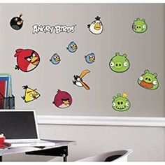 Wall Sticker 34 pc Angry Birds Green Pigs Children Room Decor NEW #rovio #wallstickers