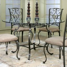 Wescot Round Glass Dining Table Cramco in Dining Tables. The Wescot dining room collection com. Round Glass Kitchen Table, Glass Dining Table Set, Glass Round Dining Table, Dining Tables, Dining Area, Patio Table, Wood Table, Wrought Iron Chairs, Luxury Dining Room