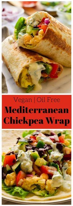 These vegan Mediterranean wraps feature smashed chickpeas, colorful veggies, and a tangy herby tzatziki sauce.