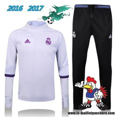 La Liga : Survetement Foot Real Madrid Collar Blanc + Pantalon Bleu 2016 2017 - Homme Kits Pas Chere