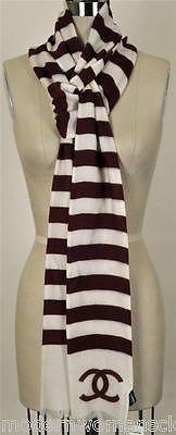 Rare Chanel 10C Classic Cashmere Striped CC Logo Scarf NEW Shawl Tie Wrap